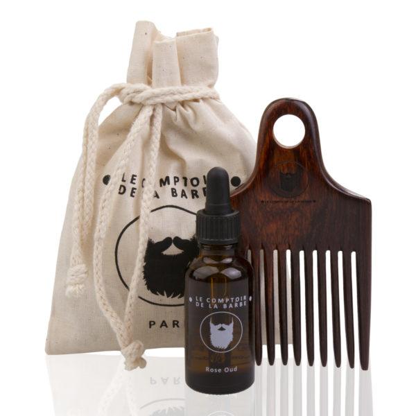 huile à barbe, peigne en bois palissandre
